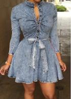 Rosewe Long Sleeve Stand Collar Skater Dress