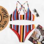 Shein Strappy Striped Bikini Set