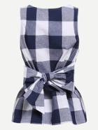 Shein Belted Checkered Shell Top