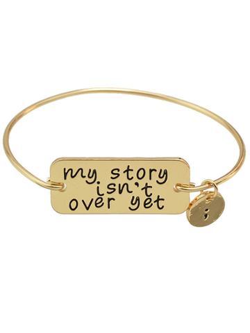 Shein Gold  Color Letters Printed Bracelets Bangles