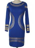 Rosewe Round Neck Long Sleeve Printed Dress