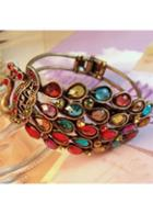 Rosewe Multicolor Rhinestone Bronze Edging Peacock Bracelet