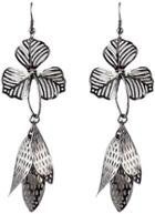 Shein Silver Hollow Leaves Dangle Earrings