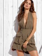 Shein Khaki Plunge Halter Neck Backless Romper With Flap Pockets