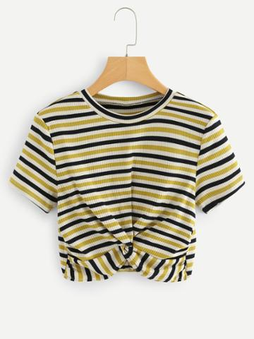 Shein Striped Twist Crop Tee