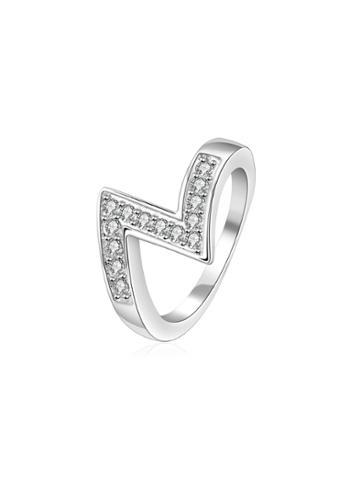 Shein Z Shaped Faux Diamond Ring