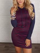 Shein Red Blue Hooded Striped Slim Dress