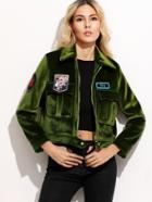 Shein Olive Green Embroidered Patches Suede Jacket