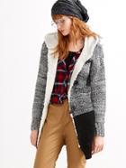 Shein Contrast Faux Shearling Neckline Duffle Sweater Coat