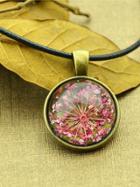 Shein Hotpink Vintage Flower Pattern Round Pendant Necklace For Women