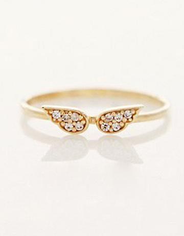 Shein Gold Diamond Wing Ring