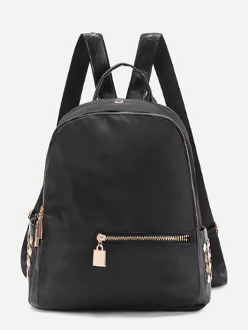 Shein Metal Detail Nylon Backpack