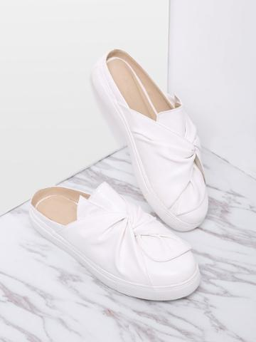 Shein White Faux Leather Round Toe Slippers