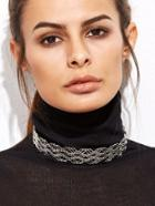 Shein Silver Plated Hollow Out Minimalist Choker Necklace