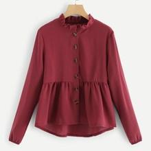 Shein Solid Frill Button Through Blouse