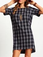 Shein Black Crew Neck Plaid Straight Dress