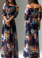 Rosewe Chiffon Off The Shoulder Flower Print Maxi Dress