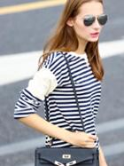 Shein Blue White Round Neck Striped Casual T-shirt Tshirt