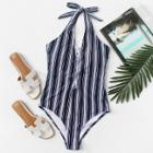 Shein Plus Lace Up Front Halterneck Striped Swimsuit