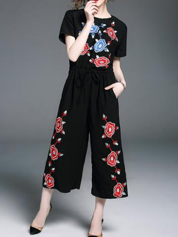 Shein Flowers Embroidered Drawstring Pockets Jumpsuit