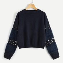 Shein Faux Fur & Pearl Beaded Sleeve Jumper