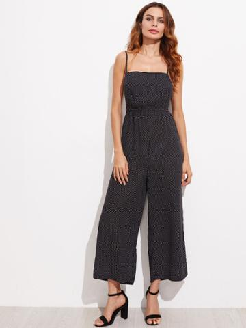 Shein Polka Dot Lace Up Backless Jumpsuit