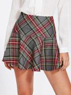 Shein Ruffle Hem Checked Skirt