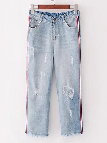 Shein Side Striped Tape Ripped Jeans