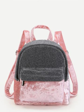 Shein Two Tone Velvet Panel Backpack