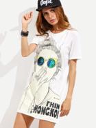 Shein White Cartoon Print Slit Side Tshirt Dress