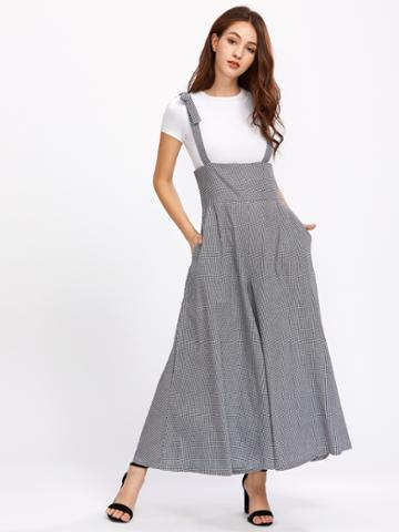 Shein Gingham Bow Tie Strap Palazzo Overall