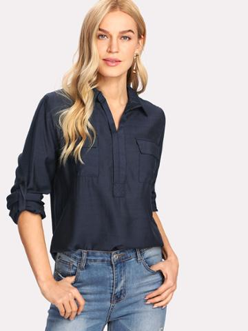 Shein Roll Up Sleeve Chest Flap Pockets Shirt