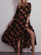 Shein Long Sleeve Flower Print Maxi Black Dress Longsleeve Kaftan