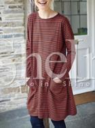 Shein Orange Striped Pockets Tshirt Dress