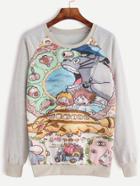 Shein Pale Grey Cartoon Print Raglan Sleeve Sweatshirt