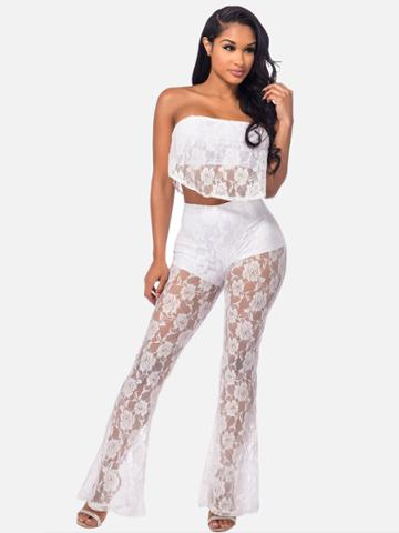 Shein See-through Frill Layered Bandeau Top With Flare Pants