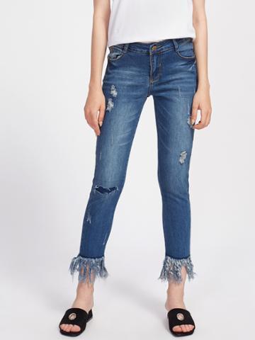 Shein Ripped Detail Fringe Hem Jeans