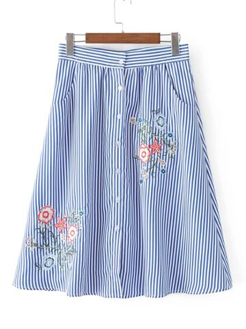 Shein Vertical Striped Flower Embroidery Skirt