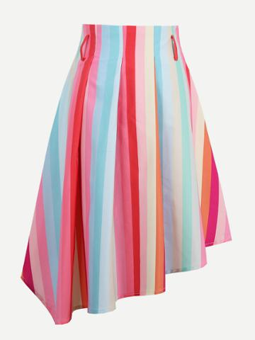 Shein Rainbow Stripe Asymmetric Skirt