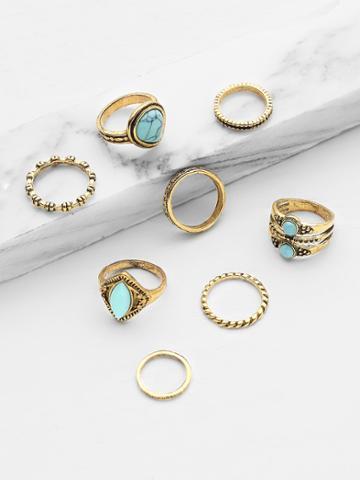 Shein Turquoise Design Ring Set 8pcs