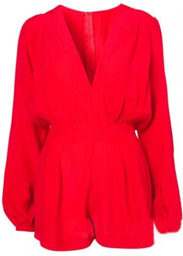Rosewe Attractive Solid Red V Neck Long Sleeve Rompers