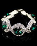 Shein Green Gemstone Silver Diamond Bracelet