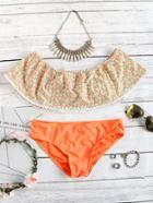 Shein Orange Floral Print Off The Shoulder Bikini Set