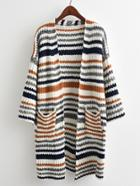 Shein Striped Textured Knit Longline Cardigan Sweater