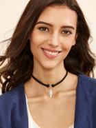Shein Black Leaf Pendant Cord Choker Necklace