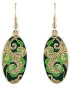 Shein Green Glaze Gold Vintage Dangle Earrings