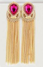 Shein Red Gemstone Gold Chain Tassel Earrings