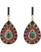 Shein Green Gold Gemstone Hollow Drop Earrings