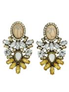 Shein Vintage Design Colorful Rhinestone Flower Statement Earrings