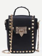 Shein Black Studded Box Handbag With Chain